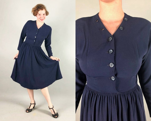 1940s Blue Rayon Crepe Dress | Vintage 40s Navy Button Front Long Sleeve Day or Cocktail Evening Dress | Small