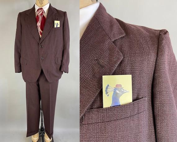 1940s Attractive Arthur's Suit | Vintage 40s Aubergine Brown Glen Plaid Red Windowpane Wool Two Piece Jacket & Trousers|Size 40 Medium Short