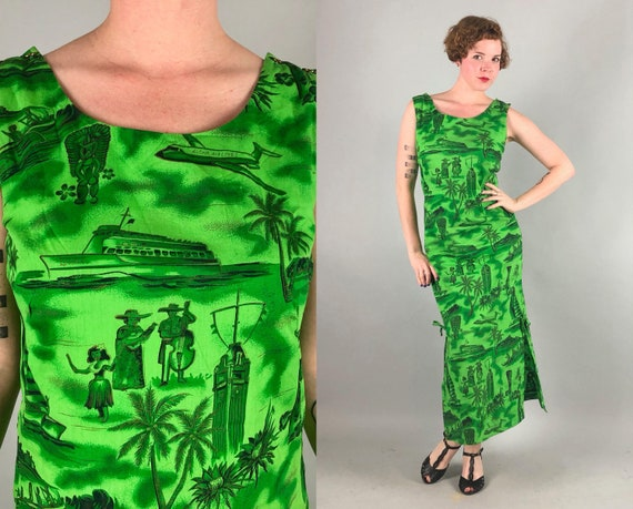 1950s Aloha Airlines Stewardess Dress | Vintage 50s Official Tiki Tropical Cruise Hawaiian Green & Gold Maxi Gown Made in Hawaii | Medium
