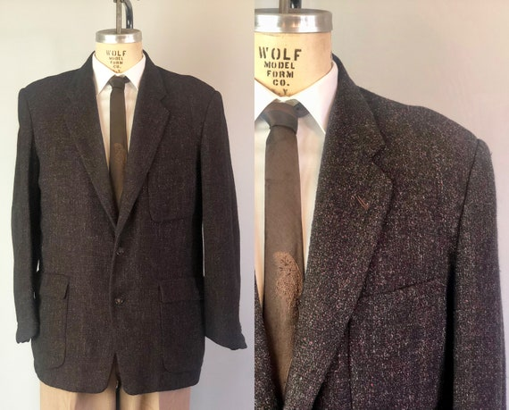 Vintage 1950s Mens Blazer | 50s Raspberry Red and Cloud Grey/Gray Flecked Black Wool Sport Coat Jacket with Patch Pockets | Size 42 Large