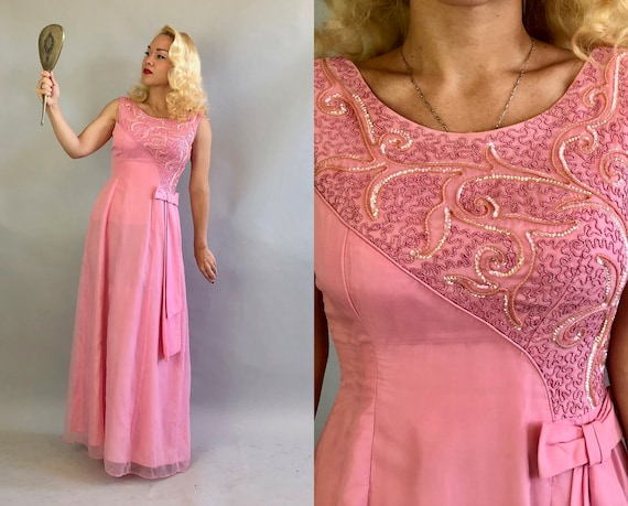 Vintage 1960s Dress | 60s Bubble Gum Barbie Pink Chiffon Overlay Sleeveless Maxi Gown with Asymmetric Sequins Soutache and Bow | Small