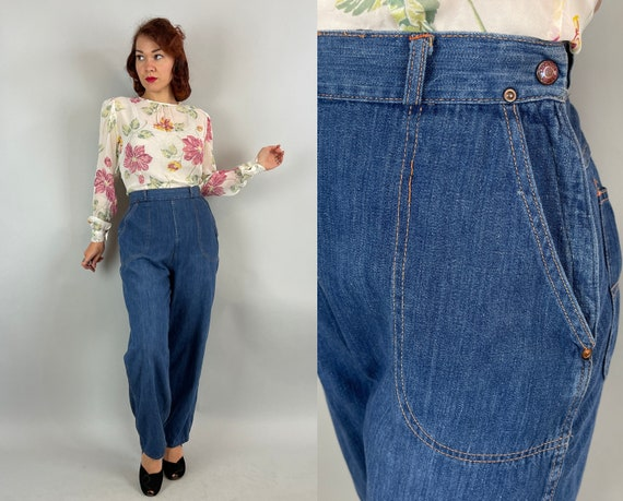 1950s Donna's Dancing Denim | Vintage 50s Classic Blue Jeans with Unique Creamsicle Orange Top Stitching and Metal Side Zip | Large