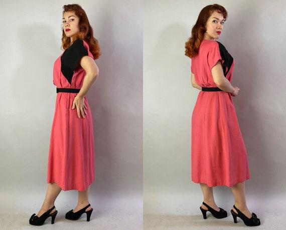 1940s Color Block Cutie Dress | Vintage 40s Coral… - image 8
