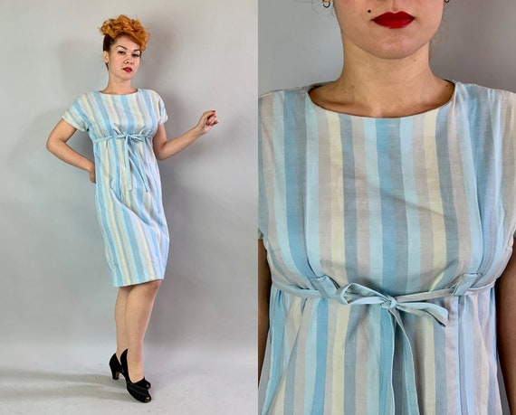 1960s Baby Doll Frock | Vintage 60s Boat Neck Pastels Blue Grey Taupe and Off White Cotton Striped Day Dress with Self Fabric Belt | Medium