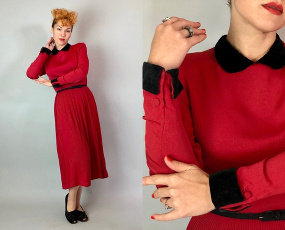 1940s Valentines Day Dress | Vintage 40s Lipstick Red Rayon w/ Black Velvet Peter Pan Collar & Cuffs, Self Buttons, Pleated Skirt | Small