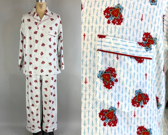 1950s Man of the House Pajamas | Vintage 50s White Cotton Flannel Two-Piece Novelty Red House Crests & Blue Daggers Print Lounge Set | Large