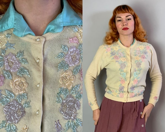 1950s Springtime Sandy Sweater | Vintage 50s Ivory Wool Angora Cardigan Jumper with Pastel Floral Rose Beading and Pearl Buttons | Medium
