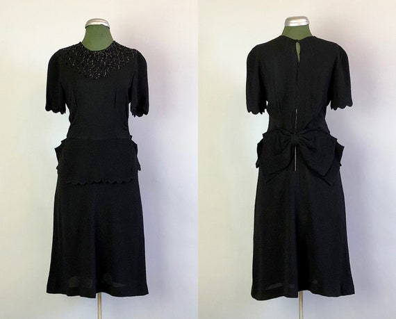 Vintage 1940s Dress | 40s Gorgeous Black Rayon Crepe Cocktail Evening Dress with Sequin Neckline, Scallop Peplum, and Large Back Bow | Small