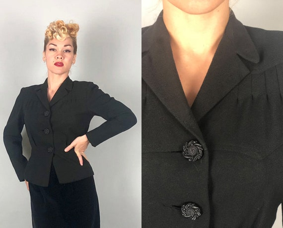 1940s Wool Crepe Blazer | Vintage 40s Amazing Black Jacket W/ Gorgeous Art Deco Details, Great Buttons, & Pockets! | Small