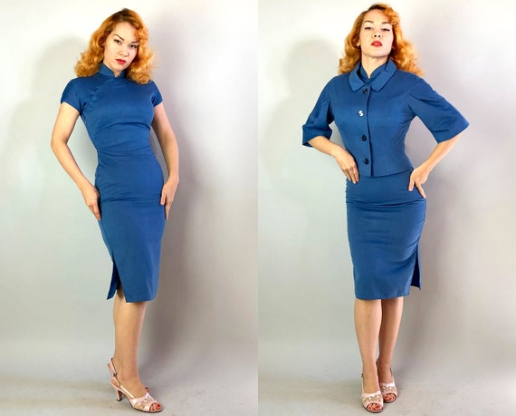 1950s East Meets West Cheongsam | Vintage 50s Steel Blue Cashmere Wool and Silk Fully Lined Qi Pao Dress w/Bolero Jacket | XS Extra Small