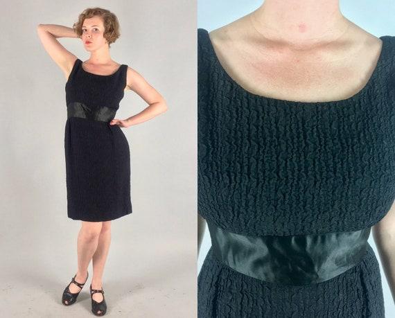 1950s Dress   Vintage 50s Black Crinkle Silk Scoop Neck Sheath Cocktail Dress with Wide Satin Waistband LBD   Medium