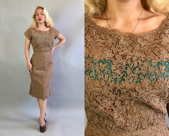 Vintage 1950s Dress   50s Light Milk Chocolate Brown Lace Wiggle Day-to-Night Cocktail Party Dress with Turquoise Teal Blue Panel   Medium