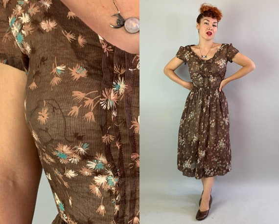 1940s Autumn Bliss Dress | Vintage 40s Walnut Brown Sheer Crinkled Cotton Day Frock w/White Turquoise & Tea Flower Print | Extra Small XS