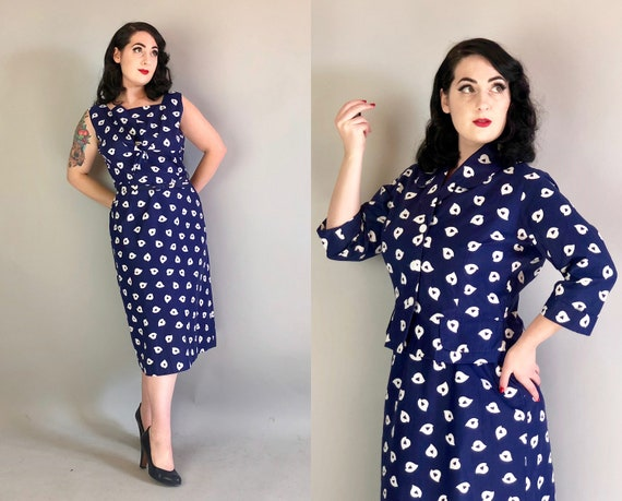 Vintage 1950s Dress Set | 50s Three Piece Midnight Blue with White Triangle Teardrop Print Cotton Dress with Matching Jacket & Belt | Large