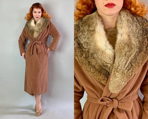1940s Fabulous Fox Fur Coat   Vintage 40s Chestnut Brown Overcoat with Dramatic Fur Collar, Waist Belt Ties, & Pockets!   Medium