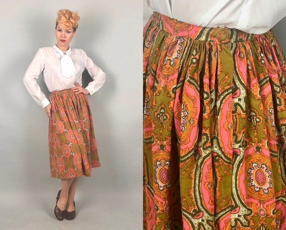 Vintage 1950s 1960s Skirt | 50s 60s Cotton Orange Green and Pink Mid Century Paisley Psychedelic Full Skirt | Extra Small XS