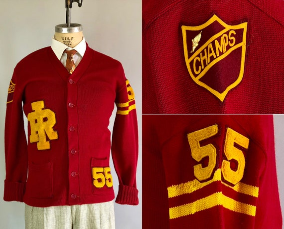 Vintage 1950s Mens Sweater | 50s Maroon Red & Yellow Wool Collegiate Varsity Cardigan Jumper Team Dated 1955! w/ Chenille Patches | Large
