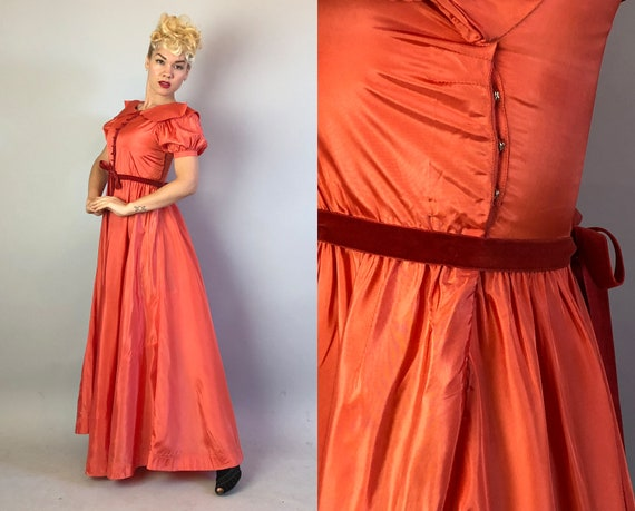 1930s Coral Silk Taffeta Evening Gown | Vintage 3… - image 10