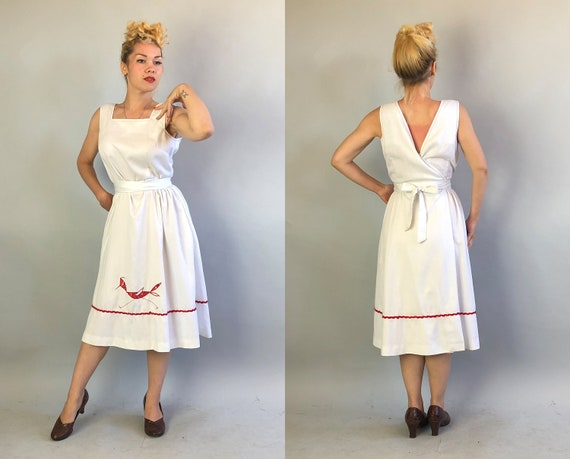 Vintage 1960s Dress   60s White Cotton Sleeveless Wrap Dress with Red Ric Rac Trim Top Stitching and Bandana Roadrunner Applique   Medium