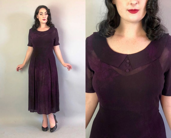 1930s Style Purple Dress | Vintage 90s Does 30s Eggplant and Black Sheer Day Dress w/ Collar, Pleats, & Self Buttons | Extra Large XL Volup
