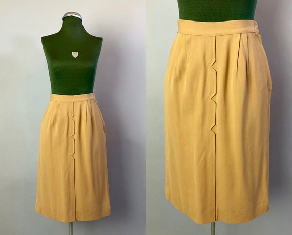 1950s Mustard Rayon Gabardine Skirt | Vintage 50s 'Donovans DonCharm' Dark Gold Yellow Pencil Skirt w/ V-Notch Front Seam | Extra Small XS