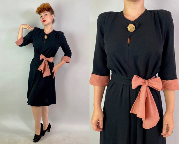 1940s Bette's Not So Basic Black Dress | Vintage 40s Rayon Crepe Frock with Dusty Pink Cuffs and Sash Belt Large Bird Button | Small Medium
