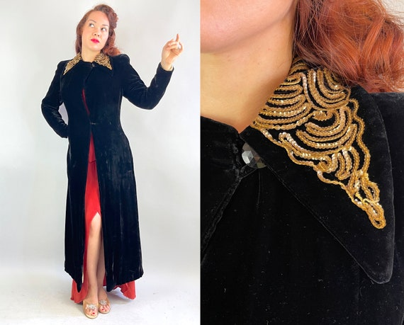 1940s Glamorous Gala Gal Coat | Vintage 40s Black Rayon Velvet Evening Opera Formal Jacket with Gold Sequins and Faceted Button | Small