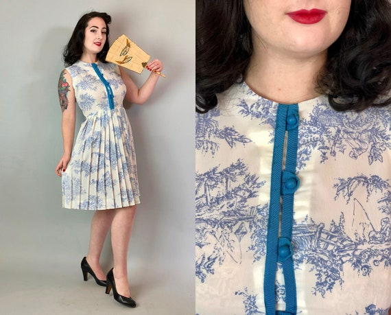 1950s Japanese Novelty Print Dress | Vintage 50s White and Sky Blue Cotton Button Front Pleated Day Dress w/ Buddhist Architecture | Medium