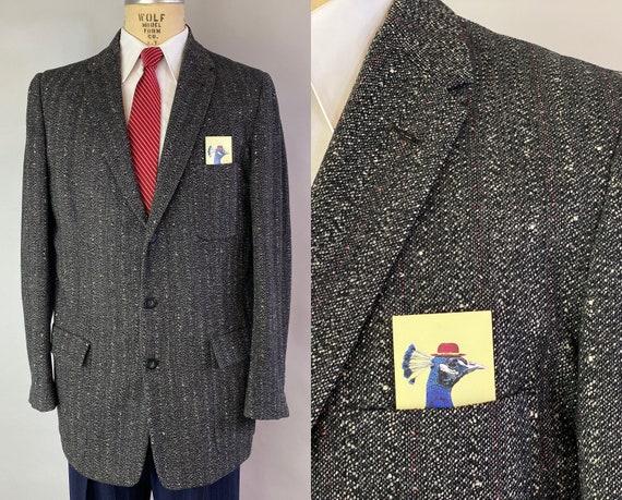 1950s Swingin' Sammy Sportcoat | Vintage 50s Black Grey White Flecked Red Pinstripe Wool Jacket Blazer with Notch Lapels | Size 42 Large