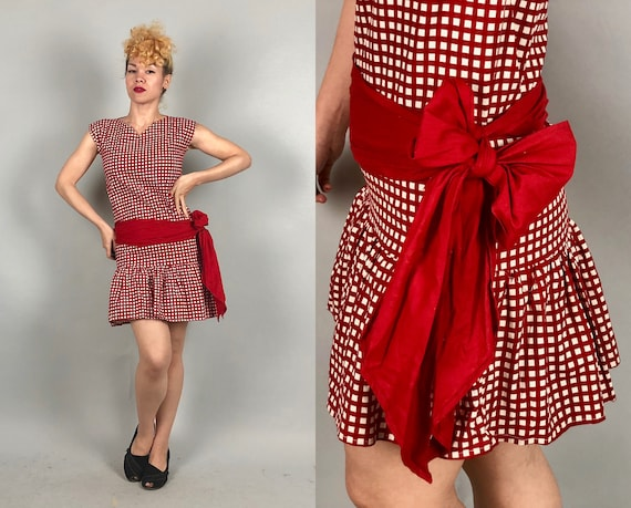 Vintage 1960s Dress | 60s Cherry Red and White Checkerboard Print Cotton Ruffle-Hem Shift Dress with Hip Sash and Oversized Bow | Small