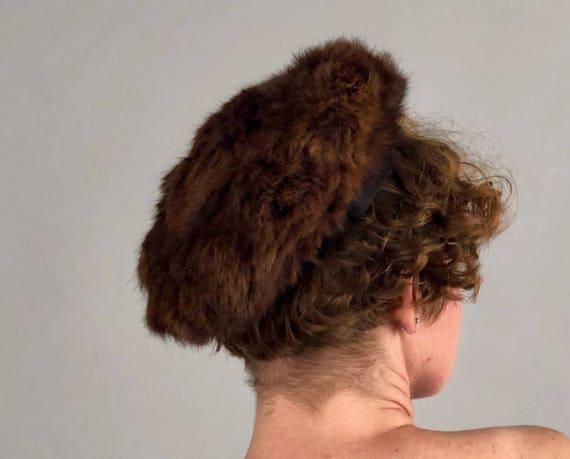 1950s Darling Fur Hat   Vintage 50s Small Soft Brown Rabbit Fur Beret Cap From I. Magnin