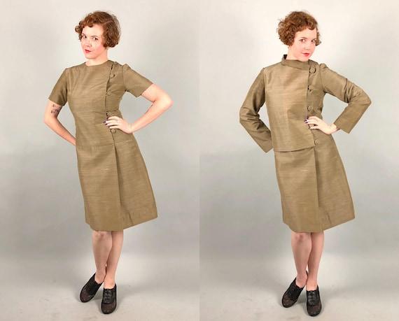Vintage 1960s Dress Set | 60s Office-Ready Asymmetrical Slubbed Sand Colored Sheath Dress & Jacket Set With Large Buttons | Medium
