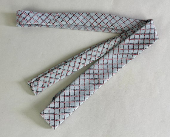 """1950s """"Palm Beach"""" Necktie   Vintage 50s Sky Blue with Red and Black Diamond Plaid Cotton Mohair Flat End Self Tie by """"Beau Brummell"""""""