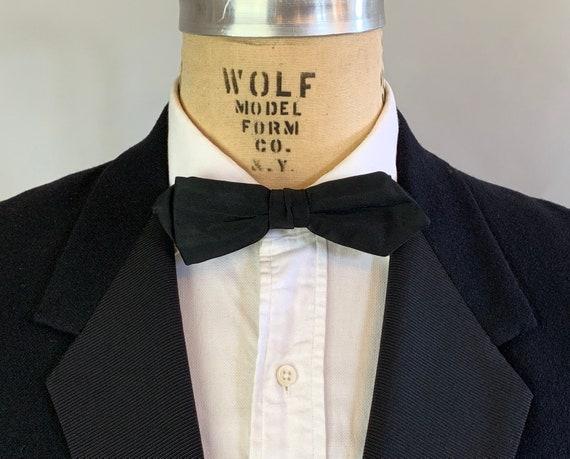 1940s Mens Formal Bowtie | Vintage 40s Classic Black Silk Satin Clip-On Silver Metal Rust Resistant Diamond Tip Bow Tie by 'Delton'