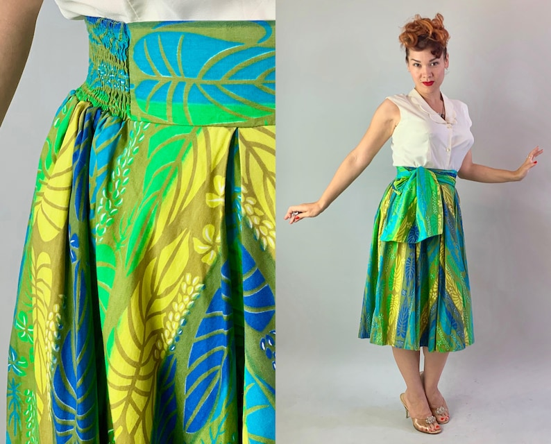 1950s Miss Hawaii Tiki Set  Vintage 50s Cotton image 0