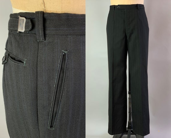 1930s Dapper Dan Trousers | Vintage 30s Black Wool Pants Slacks with Blue Pinstripes and Two Adjustable Waist Tabs | 39x33.5 XL Extra Large