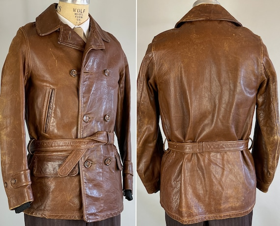 """1930s Townsman Leather Jacket 