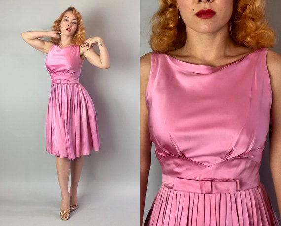 "Vintage 1950s Cocktail Dress | 50s Rose Petal Pink ""Jr.Theme"" Silk Satin Evening Pleated Full Skirt Party Dress w/ Self-Fabric Bow 