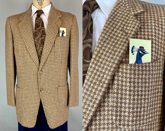 1950s Polished Professor Sportcoat | Vintage 50s Orange Blue Brown and Cream Tweed Wool Houndstooth Notch Lapel Blazer | Size 40 Medium
