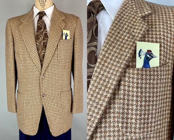 1950s Polished Professor Sportcoat   Vintage 50s Orange Blue Brown and Cream Tweed Wool Houndstooth Notch Lapel Blazer   Size 40 Medium