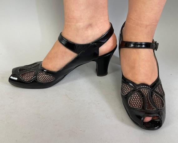 "1940s Summer Goth Pumps | Vintage 40s Black Patent Leather Peep Toe High Heel Shoes Sandals w/Ventilation Lace Mesh by ""Matrix"" | Size US 9"