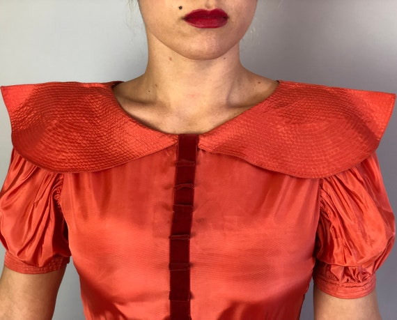 1930s Coral Silk Taffeta Evening Gown | Vintage 3… - image 3
