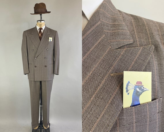 1940s Pennies From Heaven Suit | Vintage 40s Taupe and Orange Wavy Chalk Stripe Peak Lapel Double Breasted Jacket & Pants | Size 40 Medium