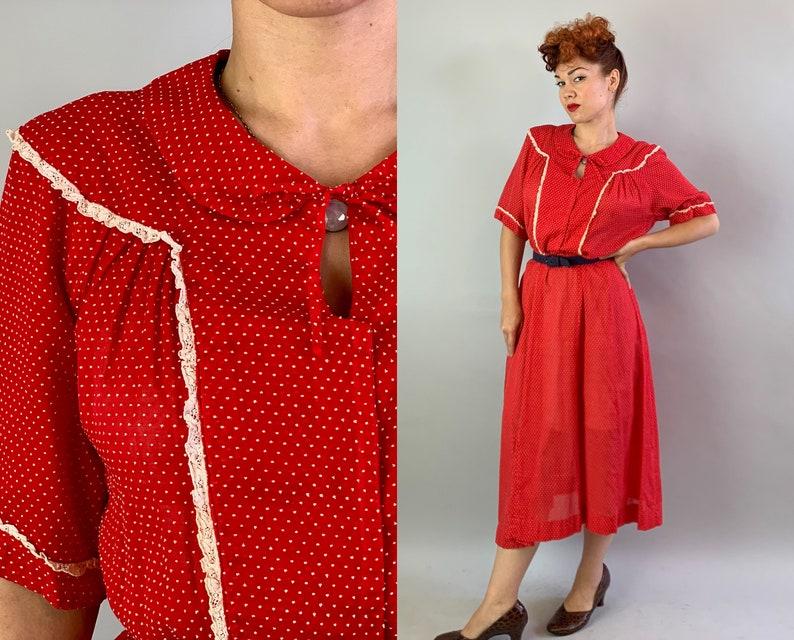 1940s Vivacious Verna Shirtwaist Day Dress  Vintage 40s Red image 0