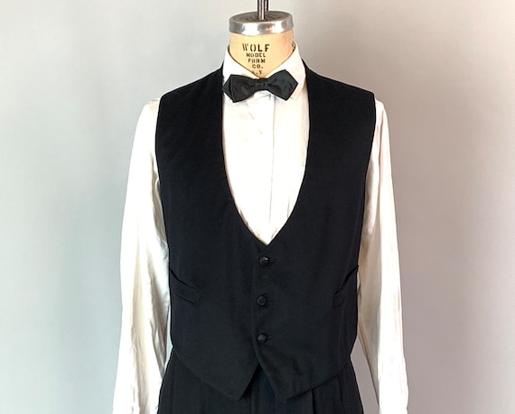 1900s Charming Charlie Vest | Vintage Antique Edwardian Inky Black Wool & Silk Formal Tuxedo Waistcoat | Size 46 Extra Large XL