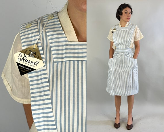 1950s Dorothy's Darling Pinafore Dress | Vintage 50s Blue and White Candy Striper Frock with Cat Eye Buttons Deadstock NWT | Extra Small XS