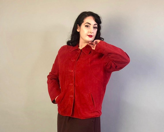 1940s Red Suede Jacket | Vintage 40s 'Leathermode' Red Leather Fully Lined Button Up Collared Coat with Self Covered Buttons | Large-ish