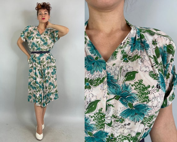 1940s Fanciful Floral Frock   Vintage 40s White Pink Green and Blue Fluffy Flower Print Rayon Chiffon Dress with Pockets   Extra Large XL