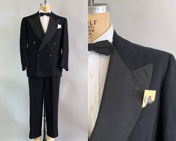 1940s Regal Roger Tuxedo | Vintage 40s Double Breasted Black Wool Tux Evening Suit with Silk Faille Peak Lapels | Size 40 Medium