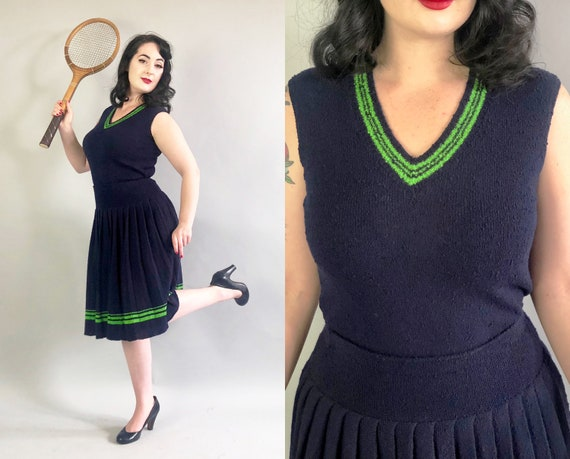 1930s Tennis Dress Set | Vintage 30s Two Piece Midnight Blue & Neon Green Slubby Wool Knit Top Shirt and Pleated Skirt | Small Medium Large